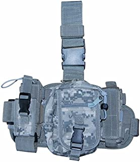 Non-Slip Molle Utility Leg Rig 3 Pouch Flashlight,Pistol Mag,Radio for Hiking, Airsoft, Paintbal & More