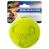 Nerf Dog Soccer Ball Dog Toy with Interactive Squeaker, Lightweight, Durable and Water Resistant, 3.25 Inches, for Small/Medium/Large Breeds, Single Unit, Green