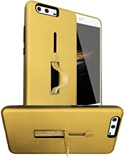 Huawei P10 Plus Matte Shockproof Ring Stand PC+TPU Back Case Cover - Gold