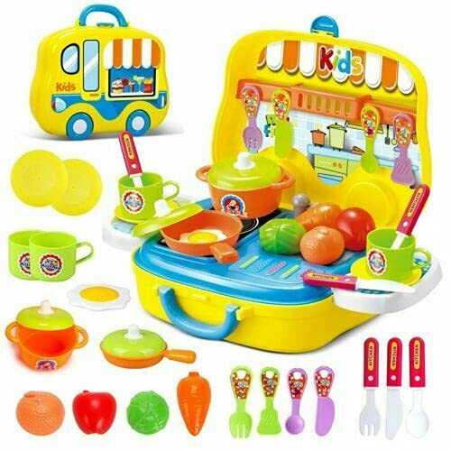 Delex Kitchen Playset for Kids Role Playing Game Toy with Accessories Pretend Cooking Kit Food Set Cookware with Suitcase Carry Case (Yellow)