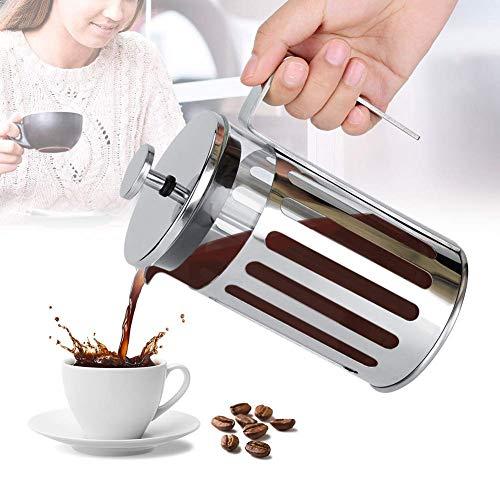 OKMIJN Cafetera, Filtro de Prensa Francesa de Vidrio de Acero Inoxidable, cafetera, Tetera doméstica con Mango Antideslizante para el hogar, tamaño 3 (600 ml)