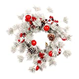 GREEN&RARE Corona de puerta frontal, coronas de Navidad, guirnalda artificial de Navidad con agujas de pino blanco, campanas, frutas rojas, feliz Navidad (45 cm)