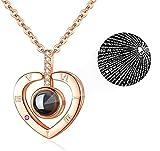 iAmotus Frauen Halskette Silber 925 Damen Herz Anhänger Halskette Schmuck 100 Sprachen Ich Liebe Dich Projektion Necklace Love Sgeschenk