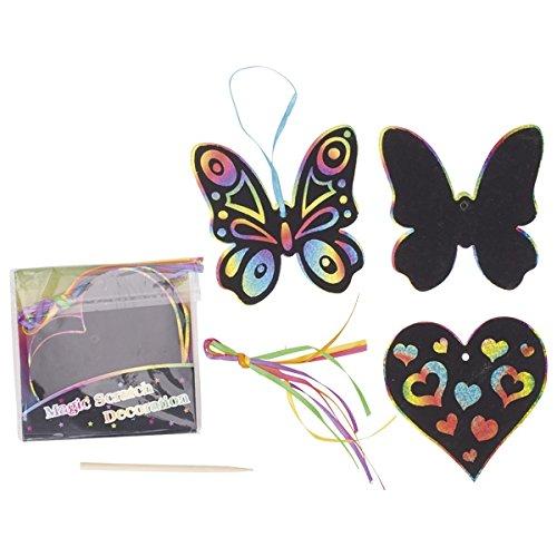 4X je 6X Bunte Kratzbilder zum aufhängen, = 24 Kratzbilder Regenbogen - Farben, Blumen, Schmetterling, Herz, Fisch