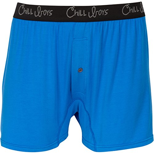 Chill Boys Bamboo Boxers - Soft, Cool, Comfortable Bamboo Underwear (Large, Blue)