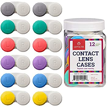 Contact Lens Cases 12 Pack – Assorted Separate Colors Eye Contact Lense Cases for Left/Right Eyes – Durable Compact Portable Bulk Supply Contact Lens Storage Holder- by Optix 55