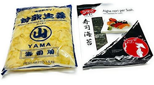 Kit Sushi – 1,5 kg jengibre de salamoia Yama + algas nori para sushi 10 hojas 25 g