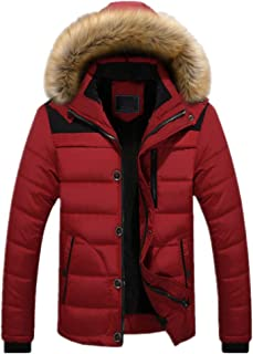 Men Winter Jackets Thick Hooded Parka Coats Casual Hooded Puffer Quilted Jacket Men Fleece-Lined Multi-Pocket Tops Autumn ...