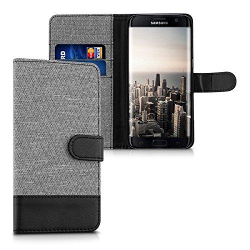 kwmobile Funda Compatible con Samsung Galaxy S7 Edge - Carcasa de Tela y Cuero sintético Tarjetero Gris/Negro