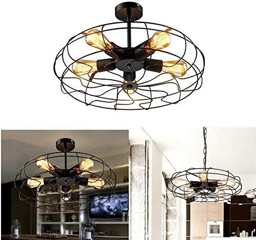 Metalen ventilator hanger lamp Steampunk industrie vintage plafond kroonluchter licht E27 5 lampen plafondlamp voor restaurant keuken, retro industrie fan stijl metalen kooi plafond licht