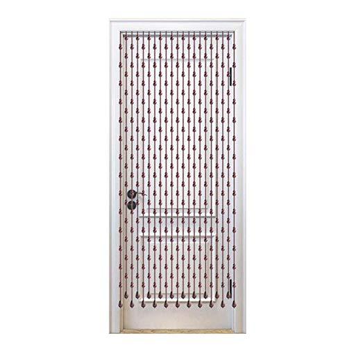 WYAN Cortinas de cuentas de madera para decoración del hogar para puerta de paso, panel de pared con flecos, fiesta, ancho 80 – 120 cm para ventana/puerta/patio (color: 80 x 155 cm-21)