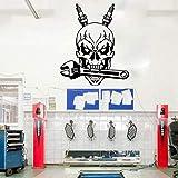 LovelyHomeWJ Mécanicien Automobile crâne Bougie clé Outils Garage Boutique Autocollant Mural Voiture Service de réparation Automobile crâne Sticker Mural Vinyle décor 69x56 cm