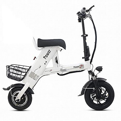 J&LILI Elektrofahrrad, Faltbarer Tragbarer Einzel-Elektroroller Mit 500 W Motor, Elektrofahrrad Für Erwachsene Mit LCD-Display, Höchstgeschwindigkeit 30 Km/H,Weiß,11AH