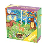 """Mudpuppy Forest Friends Jumbo Puzzle, 25 Jumbo Pieces, 22""""x22"""" – For Kids Age 2+ - Colorful Illustrations of Forest Animals – Thick, Sturdy Pieces - Convenient Rope Handle on Box, Floor Puzzle"""
