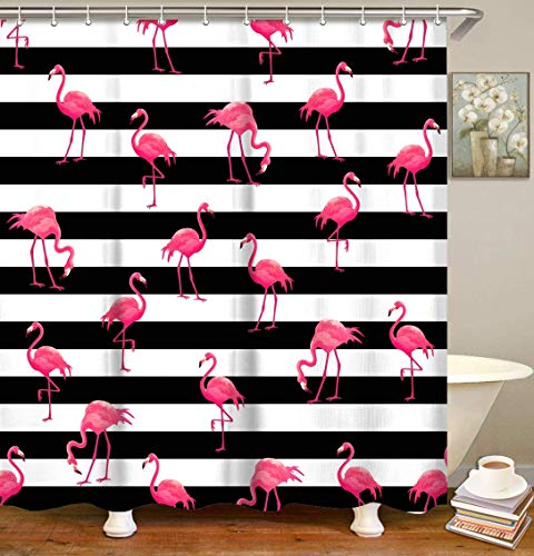 """LIVILAN Flamingo Shower Curtains, Black and White Striped Shower Curtain with Hooks for Shower Fabric Bathroom Decor Inches Machine Washable (72""""x72"""")"""