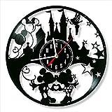YYIFAN Reloj de pared de vinilo negro, reloj de disco de vinilo, Mickey y Minnie Mouse, 30 cm, reloj de diseño moderno, para salón, dormitorio, decoración, para niños y amigos