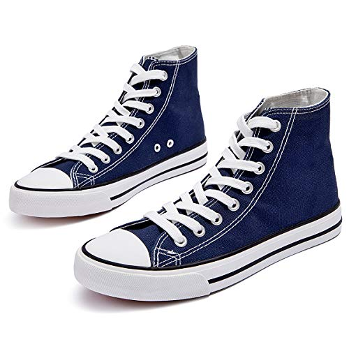 ZGR Womens Canvas Sneakers High Top Lace ups Casual Walking Shoes… (US11, Navy)…