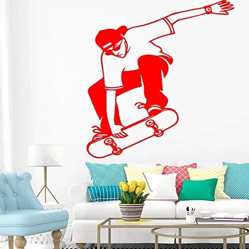 Divertido diseño de monopatín pegatina de pared para sala de estar