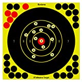 7 Inch Self Adhesive Shooting Targets, 30 Pack Splatter Reactive Targets, Visual Feedback, Paper Sticker Target with 28 Cover-up Patches for Gun, Pistol, Bb Gun, Rifle, Airsoft, Pellet Gun, Air Rifle