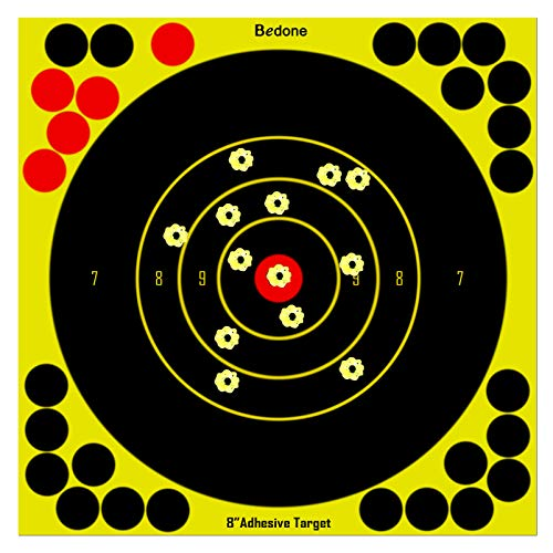 8 Inch Self Adhesive Shooting Targets, 30 Pack Splatter Reactive Targets, Visual Feedback, Paper Sticker Target with 28 Cover-up Patches for Gun, Pistol, Rifle, Bb Gun, Airsoft, Pellet Gun, Air Rifle