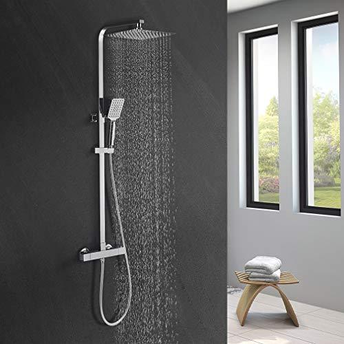 BONADE Duschsystem mit Thermostat Duschset inkl. Kopfbrause Handbrause Verstellbare Duschstange Brauseschlauch mit doppeltem Verdrehschutz (Regendusche mit Thermostatbatterie eckig 24,8x24,8cm)