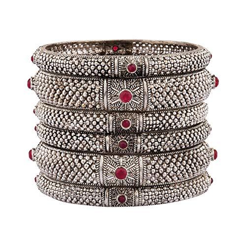 Efulgenz Boho Tribal Antik oxidiert indischen Schmuck Armband Armreif Set für Frauen Mädchen (6 Stück), 2-8