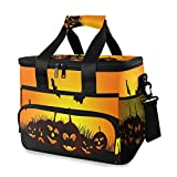 Extra Large Insulated Lunch Bag Personalized Halloween Background Leakproof Lunch Box for School Office Outdoor Activities