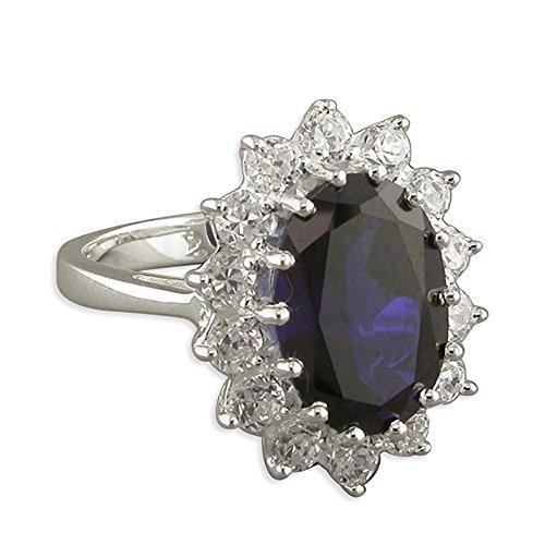 Sapphire & Diamond CZ Sterling Silver Engagement Ring - LARGE Replica Kate Middleton/Princess Diana. Size Q