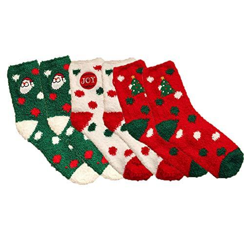 Ambolio 3 Pairs,Womens Christmas Socks,Christmas Soft Fluffy Socks,Cute Cotton Socks for Ladies, Winter Socks Xmas Gift,Funny Christmas Holiday Socks,Christmas Cotton Socks. (spot)