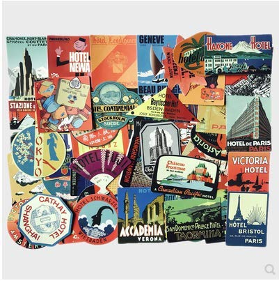 Global Travel Retro International Suitcase Stickers Personalized Laptop Graffiti Luggage Stickers 56pcs