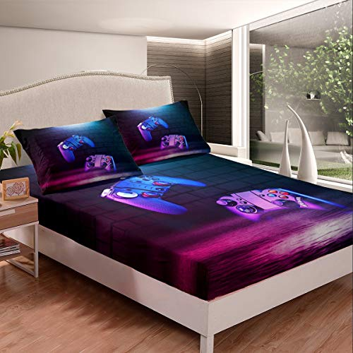 Kids Gamer Bed Sheet Set for Boys Teens Youth Modern Video Game Controller Bed Sheets Gaming Console Bedding Set Geometric Wall Design Fitted Sheet Bedroom Collection 2Pcs Single Size