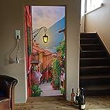 murimage Papel Pintado Puerta Calleja 86 x 200 cm Incluye Pegamento Lago Romance Montañas Italia Ocaso Mar Mediterráneo Fotomurales Pared