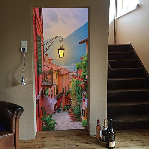 murimage deurbehang Gasse 86 x 200 cm inclusief behanglijm trap meer romantiek bergen zonsondergang Middellandse zee fotobehang