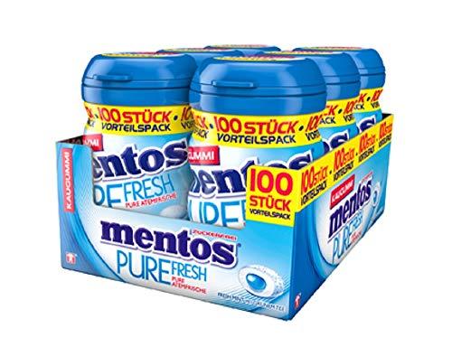 Mentos Kaugummi Mentos Pure Fresh Mint Kaugummi - Pfefferminze Geschmack - 6er Box XL Vorrat mit je 100 Kaugummis - Zuckerfreie Zahnpflege, 1.2 kg