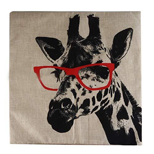 TZTT 44 * 44cm Deer Head Linen Pillowcase Without Core Sofa Backrest Seat Cushion Cover Home Decoration