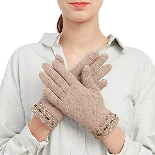 GHCXY Unisex-Adult Mittens Womens Blend Gloves Winter Outdoor Simple Splice Warm Glamorous Solid Color Mittens,Khaki,M