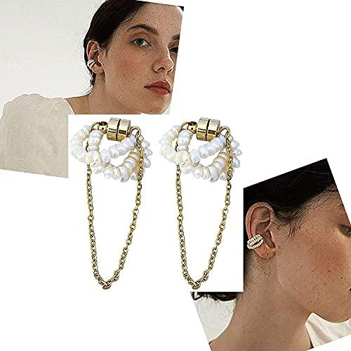 XIAOMIAO 1 Paar kein durchbohrtes magnetisches Ohrknochen-Clip-Set, hypoallergenes Magnet-Ohrring-Set, natürliche Süßwasser-Kleinperle mit Langer Kette Supermagnet-Ohrknochen-Clip für Frauen