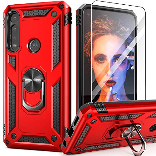 Moto G Power Case, Motorola G Power Case with Tempered Glass Screen Protector, IDweel Military-Grade Shockproof Built-in Kickstand Magnetic Car Mount Protective Cover for Motorola G Power 2020 (Red)