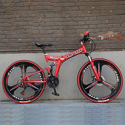 Bicicleta Montaña MTB Bicicleta De Montaña, 26 Pulgadas Marco Plegable De Acero Al Carbono Suspensión Delantera De La Bici, La Suspensión Plena Y Doble Freno De Disco, Velocidad 21 Bicicleta de Montañ