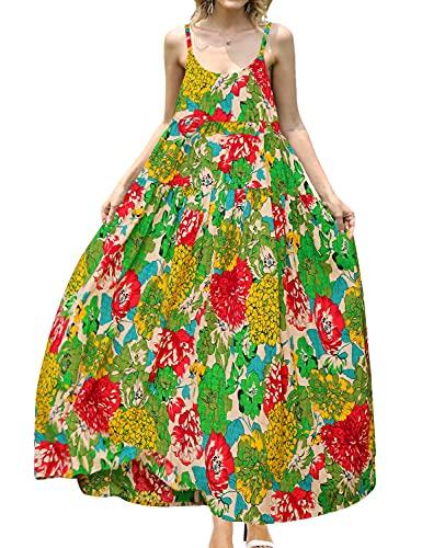 YESNO Women Casual Loose Bohemian Floral Print Dresses Empire Waist Spaghetti Strap Long Maxi Summer Beach Swing Dress L E75 CR10