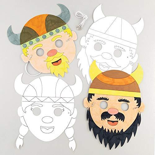"""Baker Ross Masken """"Wikinger"""" zum Ausmalen (8 Stück) – Masken mit verschiedenen Wikingern für Kinder zum Gestalten und Verkleiden"""