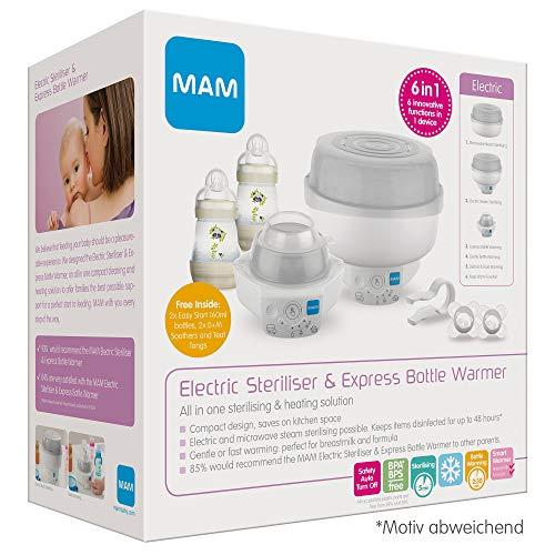 MAM 6in1 Sterilisator und Express Babykosterwärmer, Flaschenwärmer inkl. 2x MAM Easy Start Anti-Colic Flasche (160 ml) und 2x MAM Start Schnuller
