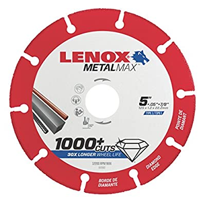 "Lenox Tools 1972922 METALMAX Diamond Edge Cutoff Wheel, 5"" x 7/8"""