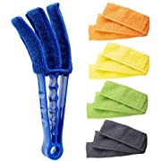 Hiware Window Blind Cleaner Duster Brush with 5 Microfiber Sleeves for Window Shutters Blind Air Conditioner Jalousie Dust