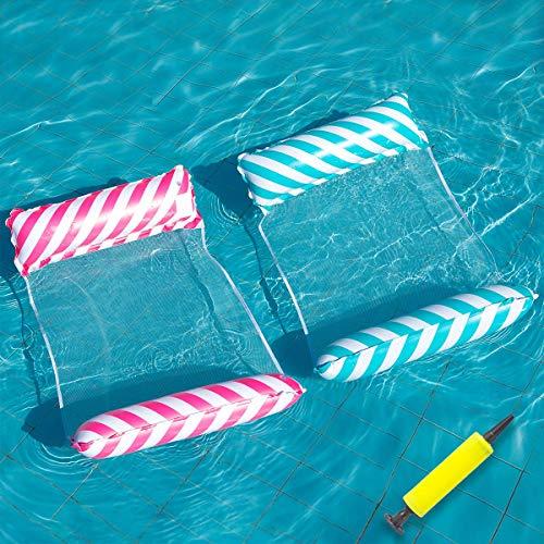 LONEEDY Hamaca de agua, 2 piezas, hamaca flotante, colores dulces, balsas inflables, piscina, aire, silla flotante, compacta y portátil, para adultos (rojo+azul)