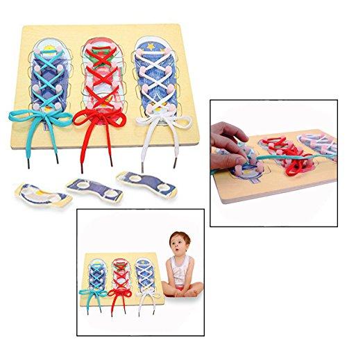 OFKPO Juguetes Zapatos de Cordones del Niño Zapato de Madera de Rosca, Niños enhebrado enseñanza Actividad de Aprendizaje del Bebé Preescolar Educativo para Niño