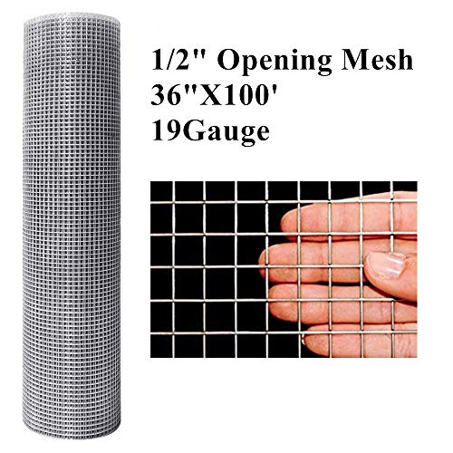 Amagabeli 1/2 Hardware Cloth 36 x 100 19 Gauge Galvanized After Welded Wire Metal Mesh Roll Vegetables Garden Rabbit Fencing Snake Fence for Chicken Run Critters Racoons Opossum Rehab Cage Window