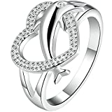 BOHG Jewelry Womens 925 Sterling Silver Plated Heart Dolphin Cute Eternity Ring Love Promise Wedding Band