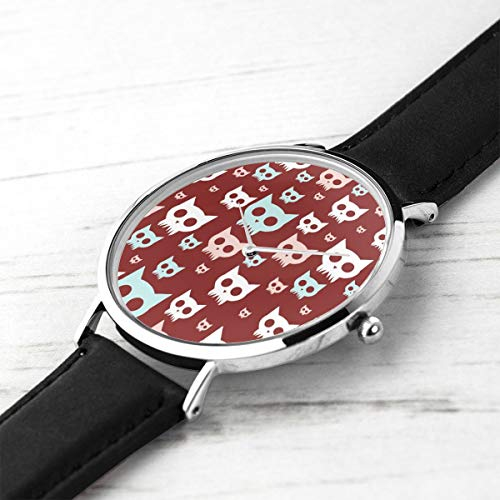 Unisex Ultra Thin Fashion Minimalist Relojes de Pulsera Cat Skulls Impermeable de Cuarzo Casual Watch Mens Womens