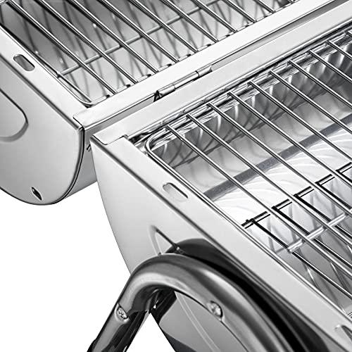 51sOze9kfwS. SL500  - TecTake Edelstahl BBQ Grill mit großer Doppelgrillfläche Holzkohlegrill Grilltonne Silber